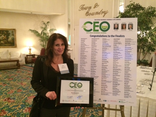 """Congrats to SaaSMAX CEO Dina Moskowitz for San Diego """"Most Admired CEO"""" Finalist Award"""